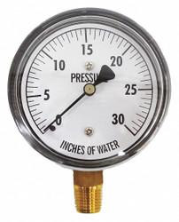 "Kodiak Low Pressure Gauge,Bottom,30"" H2O  KC25-30""H2O"