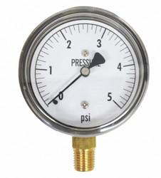 Kodiak Low Pressure Gauge,Bottom,5 psi  KC25-5#