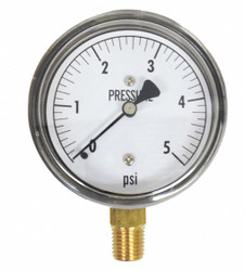 Kodiak Low Pressure Gauge,Bottom,5 psi HAWA KC25-5#