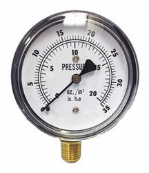"Kodiak Low Pressure Gauge,Bottom,35"" H2O/20 oz.  KC25-35""WC/20OZ""H2O"