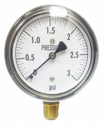Kodiak Low Pressure Gauge,Bottom,3 psi  KC25-3#