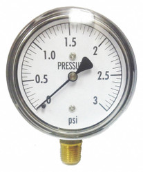 Kodiak Low Pressure Gauge,Bottom,3 psi HAWA KC25-3#