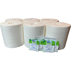 """6 Dry Airlaid Wiper Rolls w/Cleaner Packets; 300 Wipes per Roll - 6.8""""x6"""" C"""