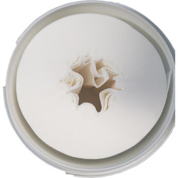 1 Dry Airlaid Wiper Roll in a White Bucket w/Dispenser Lid. 300 Wipes per r