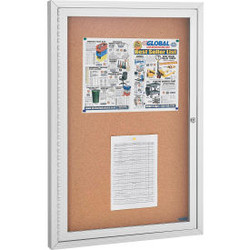 "Global Industrial Enclosed Cork Bulletin Board - 24""W x 36""H - 1 Door"