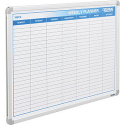 "Global Industrial Weekly Calendar Whiteboard, Steel Surface, 36""W x 24""H"