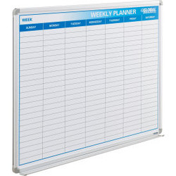 "Global Industrial Weekly Calendar Whiteboard, Steel Surface, 48""W x 36""H"