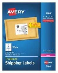 """Avery Laser Label,3-1/3"""" H,4"""" W,PK100 HAWA 7278205164"""