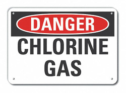 Lyle Chlorine Danger Sign,10inx14in,Aluminum  LCU4-0352-NA_14X10
