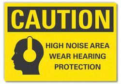 Lyle Hearing Caution Rflctv Label,5inx7in HAWA LCU3-0160-RD_7x5