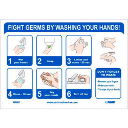 """NMC """"Fight Germs By Washing Your Hands"""" Vinyl Adhesive Sticker, 7"""" x 14"""""""