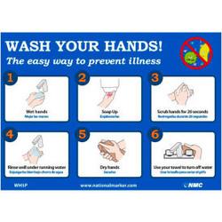 "Wash Your Hands Sticker, 7"" X 14"", Vinyl Adhesive"