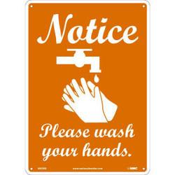 Notice Please Wash Your Hands Sign, 10 X 14, Plastic