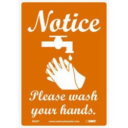 "Notice Please Wash Your Hands Sticker, 7"" X 10"", Vinyl Adhesive"
