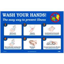 """Wash Your Hands Poster, 12"""" X 18"""", Vinyl"""