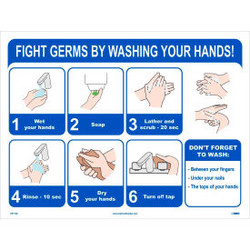 """6-Step Germ Fighting Poster, 18"""" X 24"""", Synthetic paper"""