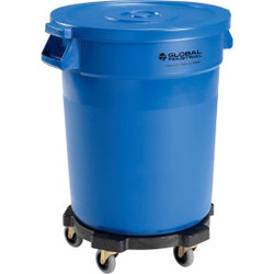 Global Industrial Plastic Trash Can with Lid & Dolly - 20 Gallon Blue