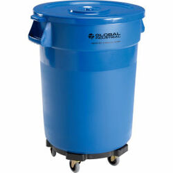 Global Industrial Plastic Trash Can with Lid & Dolly - 32 Gallon Blue
