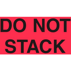 """Paper Labels w/ """"Do Not Stack"""" Print, 5""""L x 3""""W, Fluorescent Red & Black, Roll o"""