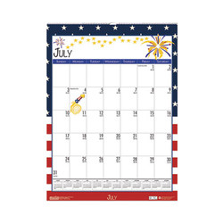 100% Recycled Seasonal Academic Wall Calendar, 12 x 16.5, 2021-2022 3395