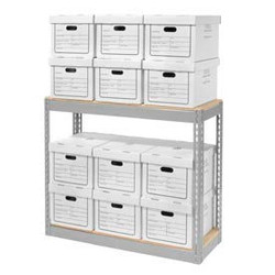 """Global Industrial Record Storage With Boxes 42""""W x 15""""D x 36""""H - Gray"""