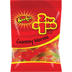 Gurley's Assorted Fruit Flavors 3 Oz. Gummy Worms 19071 Pack of 12