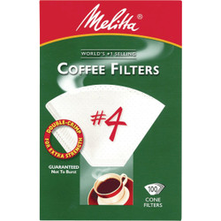 Melitta #4 Cone 8-12 Cup White Coffee Filter (100-Pack) 624102 Pack of 12