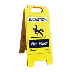 """TruForce™ """"Wet Floor"""" Caution Sign, English, Yellow, 1/Each"""