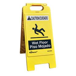 "TruForce™ ""Wet Floor"" Caution Sign, English/Spanish, Yellow, 1/Each"