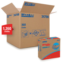WypAll* X60 Wipers, Pop-Up Box, White, 10 Boxes/126 Each