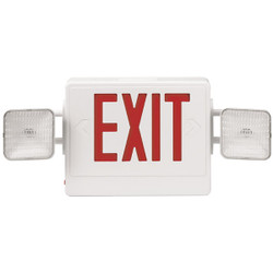 Combination Red Exit/Lighting Unit, White, 1/Each
