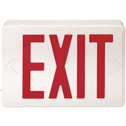 Red LED Exit Sign w/ Battery Backup, AC/DC, White, 1/Each