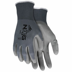 MCR Safety® NXG® PU Gloves, Large, Gray, 12/Pair