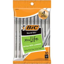 Bic Round Stic Medium Point Black Ball Pen (10-Pack) GSMP101BLK