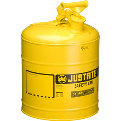Justrite® Type I Safety Can, 5 gal, Yellow, 1/Each