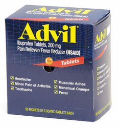 Advil Pain Relief,Tablet,200mg Size,PK100  015489