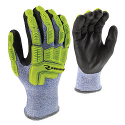 Radians® ANSI A4 Coated Cold Weather Gloves, Medium, Blue/White, 1/Pair