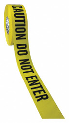 Presco Products Co Barricade Tape w/Reel,Yellow/Blk,1000 ft  B3104Y23-200