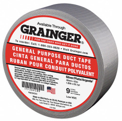 Sim Supply Duct Tape,Gray,1 7/8 in x 60 yd,9 mil  26VC89