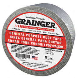 Sim Supply Duct Tape,Gray,2 13/16 in x 60 yd,9 mil  26VC95
