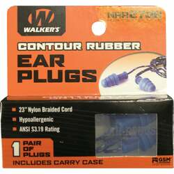 Walker's Contour Rubber Corded Blue Ear Plugs GWP-TPRCORD-BL Pack of 24