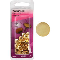 Hillman Anchor Wire Brass 23/64 In. x 15/64 In. Thumb Tack (40 Ct.) 122672 Pack of 6