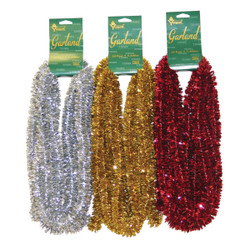 Youngcraft 15 Ft. Assorted Color Deluxe Mini Trim Colored Garland Assortment Pack of 24