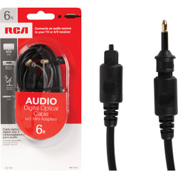RCA 6 Ft. Black Audio Digital Optical Cable DV10R Pack of 6