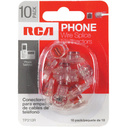 RCA Clear, Red Wire Spice Connector Phone Cord Coupler (10-Pack) TP310R Pack of 6