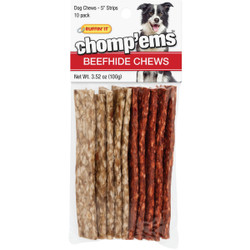 Westminster Pet Ruffin' it Chomp'ems Beef Strip 5 In. Beefhide Chew, (10-Pack) Pack of 12