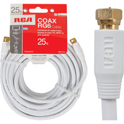 RCA 25 Ft. White RG6 Coaxial Cable VH625WHR Pack of 6