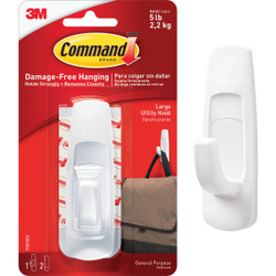 3M Command Large Utility Adhesive Hook (2-Pack) 17003ES Pack of 6