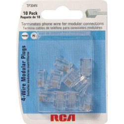 RCA Clear 4-Wire Modular Outlet Phone Plug (10-Pack) TP304R Pack of 6