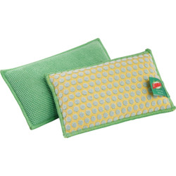 Libman 5 In. x 3 In. Yellow & Green  Kitchen & Bath StayFresh Sponge (2-Count) Pack of 6